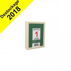 DESTOCKAGE - Bloc éphéméride journalier 6.5 x 9.7 cm Neutre sous boîtier plastique autocollant à effeuiller.