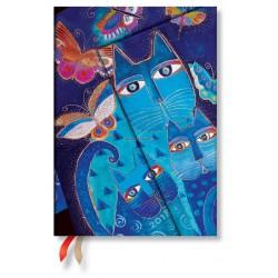 Agenda PAPERBLANKS Chats Bleus et Papillons - Midi - 130×180mm - 1 semaine sur 2 pages horizontal