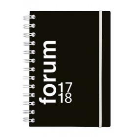 Agenda scolaire EXACOMPTA 12x17 cm - forum Sporty NOIR spiralé avec élastique de fermeture - 1 jour par page idéal collège / l