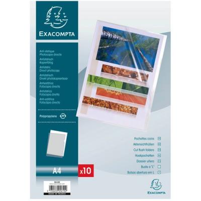 Lot 10x pochettes coin A4 EXACOMPTA - 12/100° transparent lisse