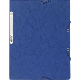 Chemise 3 rabats élastique 24x32cm EXACOMPTA - dos 3mm - carton BLEU