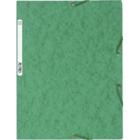 Chemise 3 rabats élastique 24x32cm EXACOMPTA - dos 3mm - carton VERT