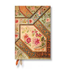 Agenda PAPERBLANKS (Version ANGLAISE) Filigrane Floral Ivoire - Mini - 100×140mm - 1 semaine sur 2 pages horizontal