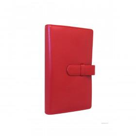 Organiseur EXACOMPTA Exatime 17 pocket cuir lisse Léman - 185x100mm - ROUGE