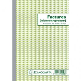 Manifold A5 Factures micro-entrepreneur EXACOMPTA - 21x14,8cm - 50 feuillets autocopiants dupli
