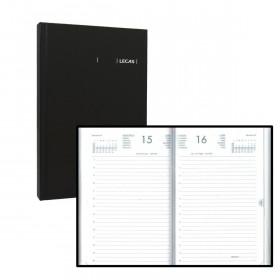 Agendas LECAS format carré 14 x 22 cm - Règlure travers horaires - Couverture noire - 1 jour par page