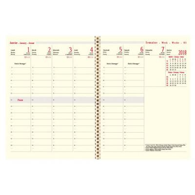 Recharge agenda spirale OBERTHUR Classique 25 - 16x23,5cm - 1 semaine sur 2 pages OSLO/MILANO