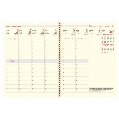 Recharge agenda spirale OBERTHUR Classique 27 - 21x27cm - 1 semaine sur 2 pages