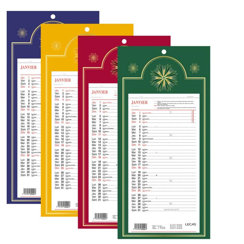 Calendrier mensuel long LECAS sur plaque 20x38cm (COLORIS ALEATOIRES)