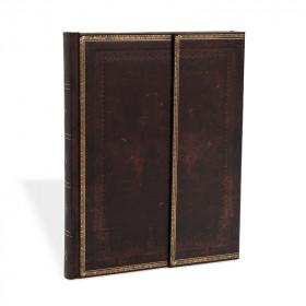Carnet PAPERBLANKS ligné Midi 13x18cm - Reliure à l'Ancienne Noir Marocain - 144 pages