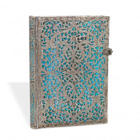 Carnet PAPERBLANKS non ligné - Grand 21x30cm - Filigrane Argenté Maya Bleu - 240 pages
