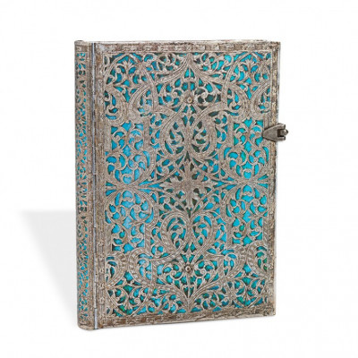 Carnet PAPERBLANKS Collection Filigrane Argenté Maya Bleu format Grand - PB25597