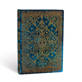 Agenda (version ANGLAISE) PAPERBLANKS 2019 Azure - Midi - 130×180mm - 1 semaine sur 2 pages Horizontal