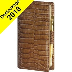 DESTOCKAGE-Agenda MIGNON AS16 - 154x78mm - cuir Veau Croco SAVANNAH Vison