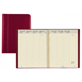 Agenda BREPOLS Optivision XL 21x27cm PALERMO - 1 semaine sur 2 pages Vertical - ROUGE