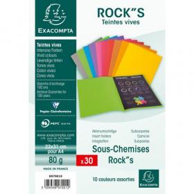 30x Sous-chemises 22x31cm EXACOMPTA ROCK'S 80gr - ASSORTIES