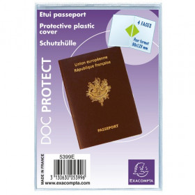 Etuis protection plastique PASSEPORT EXACOMPTA 2 volets