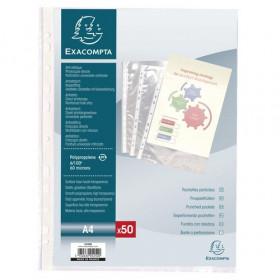 50x Pochettes perforées A4 EXACOMPTA transparentes lisses - PP 6/100e