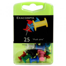 25x Epingles Push Pins EXACOMPTA - 7mm x ⌀10mm - ASSORTIES