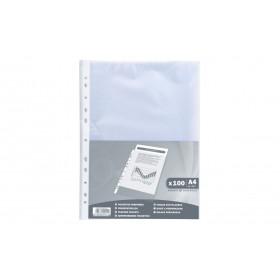 100x Pochettes perforées A4 EXACOMPTA transparentes grainées - PP 4/100e