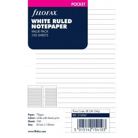 Recharge FILOFAX Pocket 12x8,1cm - 100 Feuilles de notes lignées - Blanc