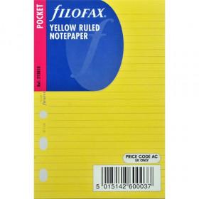 Recharge FILOFAX Pocket 12x8,1cm - 20 Feuilles de notes lignées - Jaune