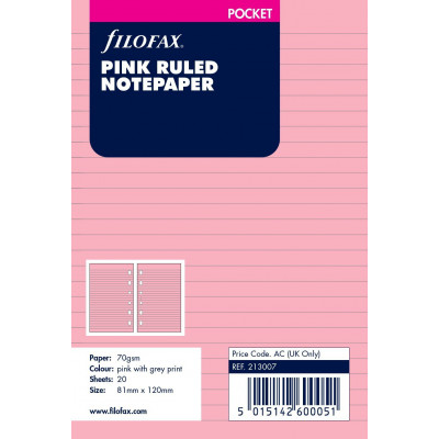 Recharge FILOFAX Pocket 12x8,1cm - 20 Feuilles de notes lignées - Rose