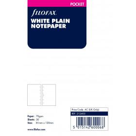 Recharge FILOFAX Pocket 12x8,1cm - 20 Feuilles de notes non lignées - Blanc