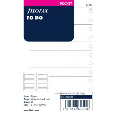Recharge FILOFAX Pocket 12x8,1cm - 20 Feuilles action & priorités - Blanc