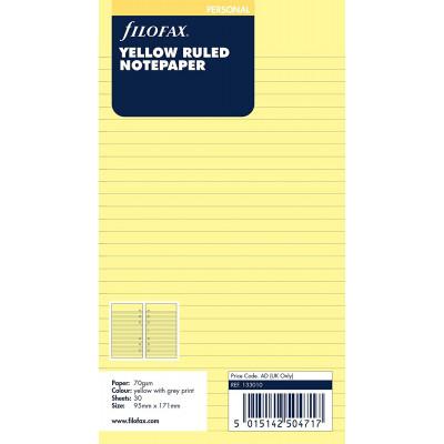 Recharge FILOFAX Personal 17,1x9,5cm - 20 Feuilles de notes lignées - Jaune
