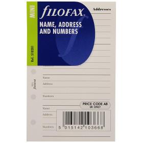 Recharge FILOFAX format MINI - Répertoire adresse