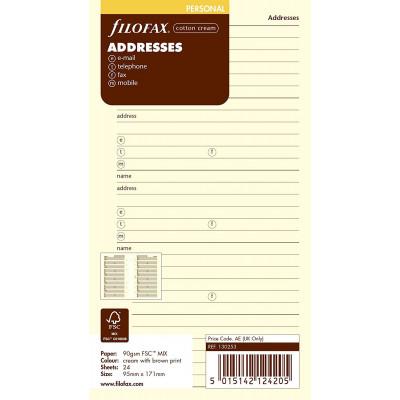 Recharge FILOFAX Personal 17,1x9,5cm - Carnet d'adresses - Crème