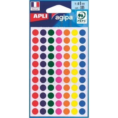 462 Etiquettes rondes Ø8mm AGIPA - NOIR