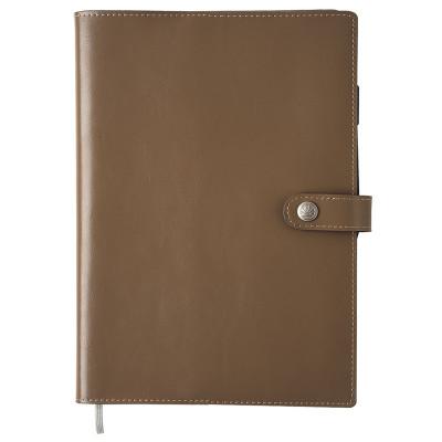 Agenda OBERTHUR 25 SPIRALÉ LODGE croûte de cuir MOKA - 17x24,5cm - 1 semaine sur 2 pages