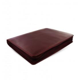 Organiseur FILOFAX A5 ZIP 23,4x20,3cm LOCKWOOD GRENAT en cuir buffle - 1 semaine sur 2 pages VERTICAL
