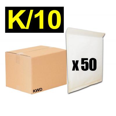 Lot 50x enveloppes à bulles ECO pochettes Blanches - format 370 x 485 mm - type K10 (K)