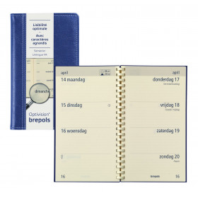 Agenda BREPOLS Optivision pocket 9x16cm PALERMO - 1 semaine sur 2 pages Horizontal - BLEU