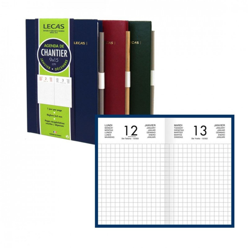 Agenda Chantier LECAS - 1 jour par page 15 x 9 cm (COULEURS ALEATOIRES)