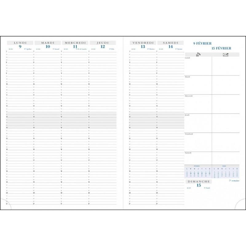 Agenda EXACOMPTA Consultations 29,7 x 21 cm - 1 semaine sur 2 pages - RDV 1/4h coloris noir