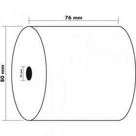 Lot 10x Bobines EXACOMPTA papier 76x80x12mm 55mm - 1 pli offset extra-blanc 60g/m2
