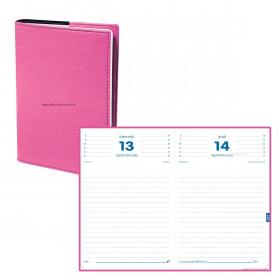 Agenda QUOVADIS TEXTAGENDA - 12x17cm - 1 jour par page couverture CLUB ROSE GRENADINE