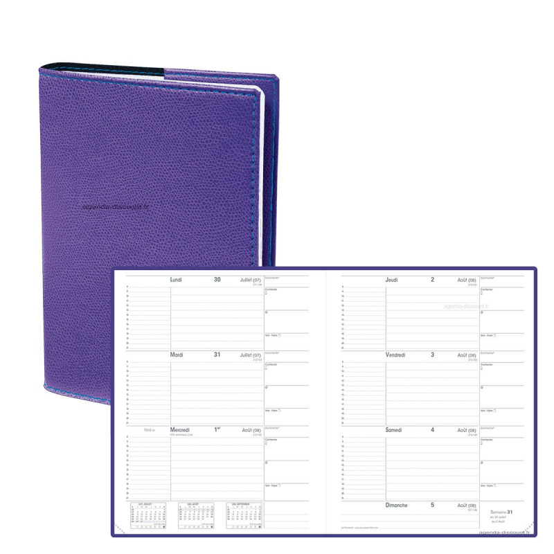 Agenda QUOVADIS Le principal 18 x 24 cm - 1 semaine sur 2 pages couverture Club Violet Iris