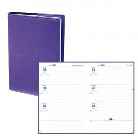Agenda semainier QUOVADIS Texthebdo 16 x 24 cm - 1 semaine sur 2 pages couverture Club Violet Iris