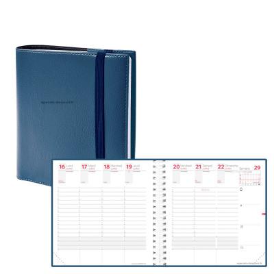 Agenda QUOVADIS TIME&LIFE MEDIUM bleu métal Septembre - 16x16cm - 1 semaine sur 2 pages