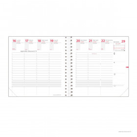 Recharge agenda QUOVADIS TIME&LIFE MEDIUM Septembre - 16x16cm - 1 semaine sur 2 pages