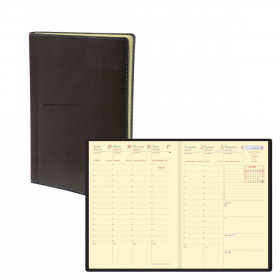 Agenda semainier de poche QUOVADIS Universitaire 10 x 15 cm - 1 semaine sur 2 pages couverture Toscana Noir