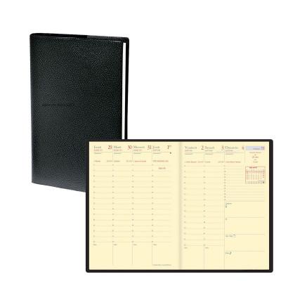 Agenda QUOVADIS UNIVERSIT PREST - 10x15cm  - 1 semaine sur 2 pages couverture SOHO NOIR EBENE avec répertoire