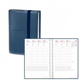Agenda QUOVADIS TIME&LIFE POCKET bleu métal Septembre - 10x15cm - 1 semaine sur 2 pages