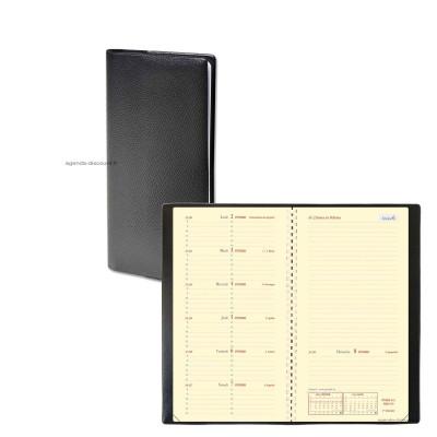 Agenda QUOVADIS ITALSEPT-S 8,8 x 17 cm - 1 semaine sur 2 pages avec répertoire impala noir