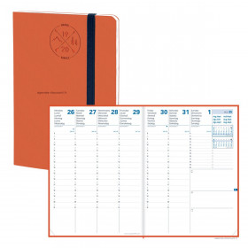 Agenda QUOVADIS PRESIDENT SD 21x27cm - 16 mois Everest orange - 1 semaine sur 2 pages